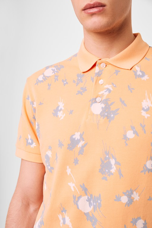 leda printed pique polo top