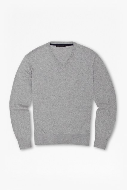 Portrait Plain Knitted V-Neck Jumper