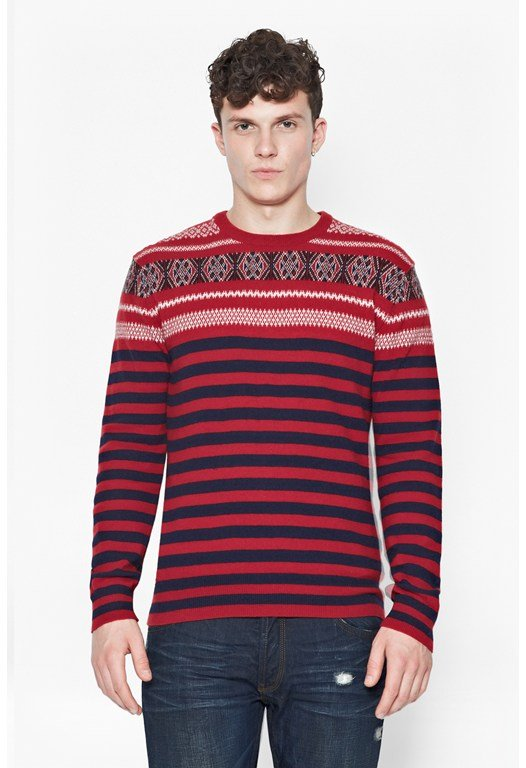 Fair Isle Striped Wool Jumper