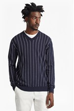 Looks Great With Dinesh Pinstripe Knitted V Neck Jumper