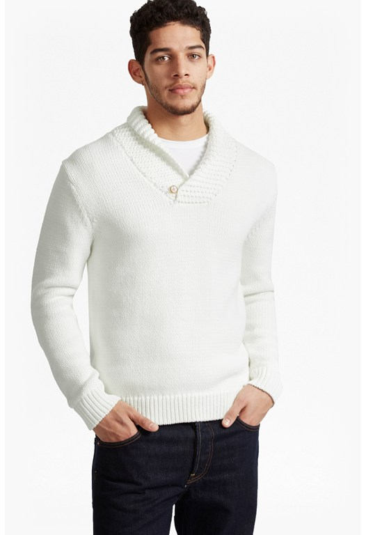 Flux Knit Shawl Neck Jumper