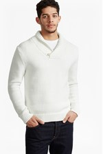 Looks Great With Flux Knit Shawl Neck Jumper