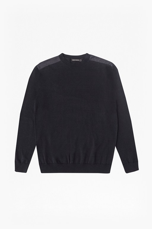 nylon trim crew neck jumper