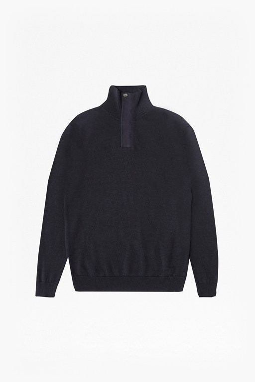 canvas trim half zip jumper