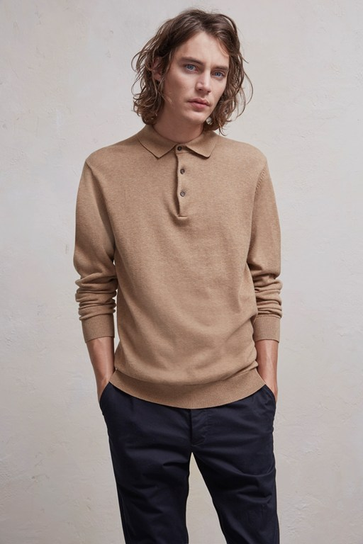 portrait wool polo jumper