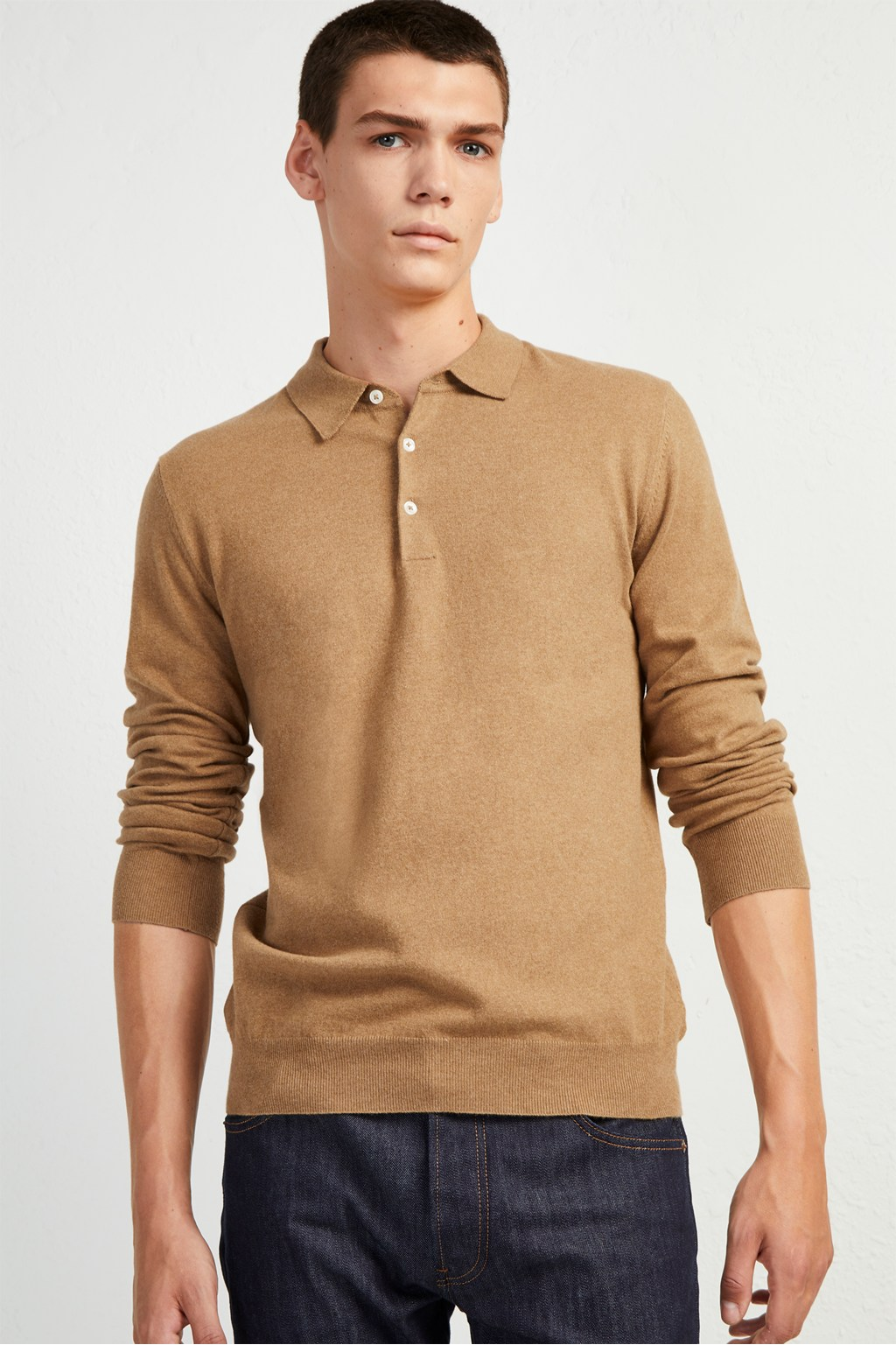 26bfc61241b77 Stretch Cotton Long Sleeve Polo Shirt. loading images.