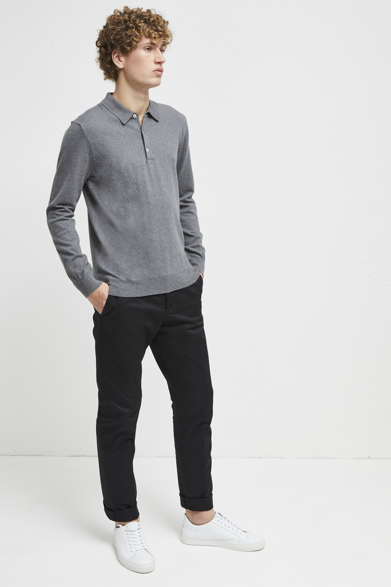 Stretch Cotton Long Sleeve Polo Shirt Mens Sale French