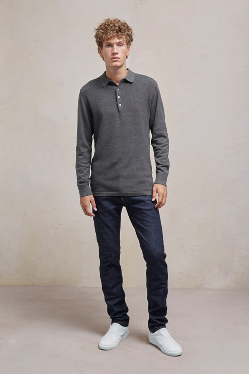 Complete the Look Textured Knit Long Sleeved Polo Shirt