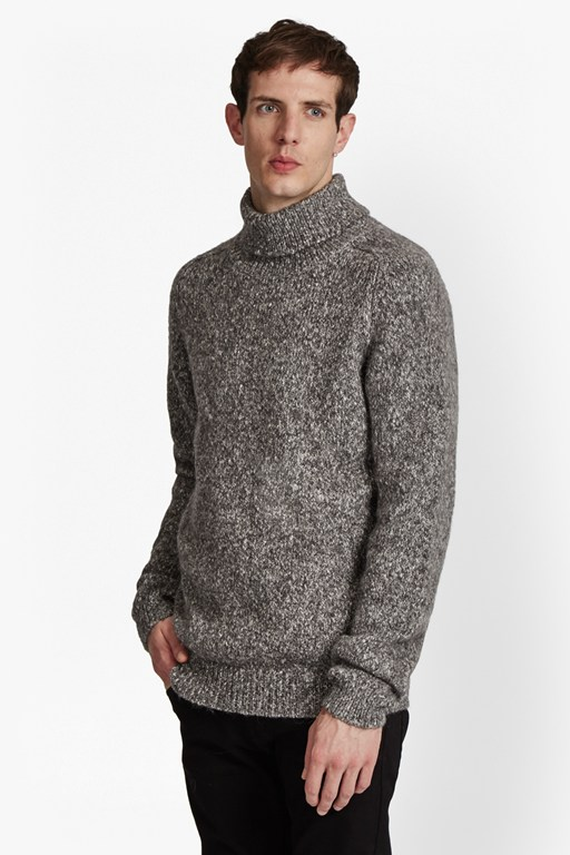 buddy knit melange roll neck jumper