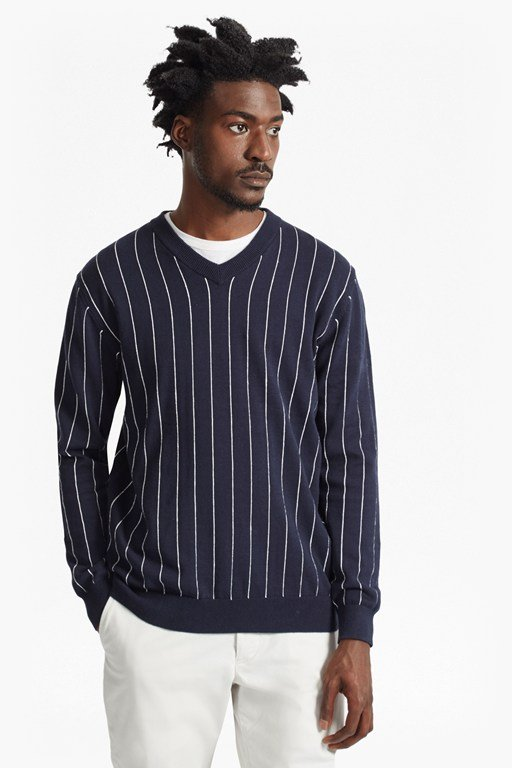 Complete the Look Dinesh Pinstripe Knitted V Neck Jumper