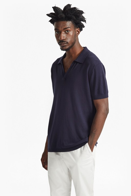 Complete the Look Open Collar Knitted Polo Shirt