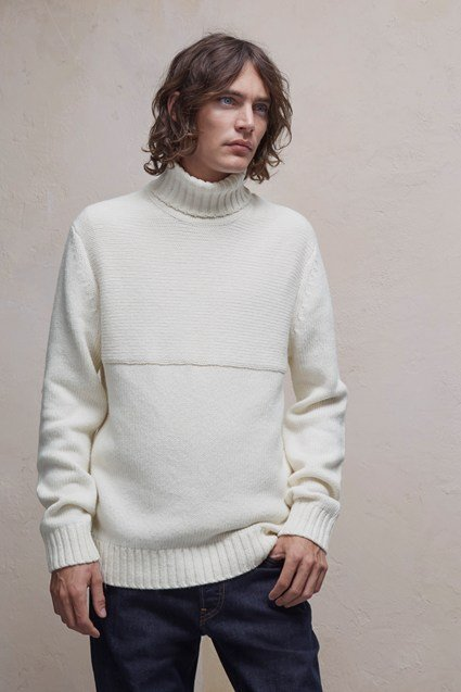 Contrast Direction Roll Neck Jumper