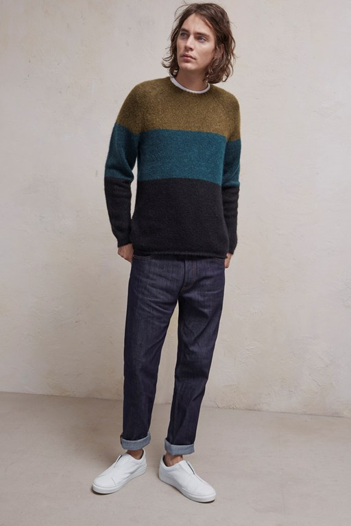 block stripe mohair mix jumper