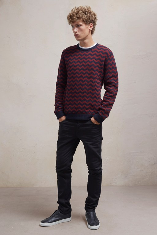 Complete the Look Zig Zag Lambswool Crew Neck Jumper