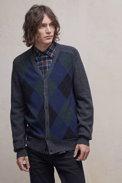 Argyle Front Lambswool Cardigan