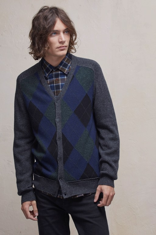 Complete the Look Argyle Front Lambswool Cardigan