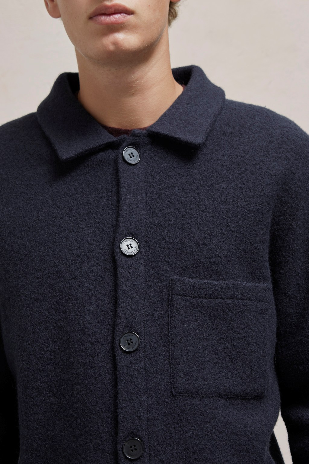Boiled Wool Shirt Jacket Mens Polo Shirts French Connection Usa