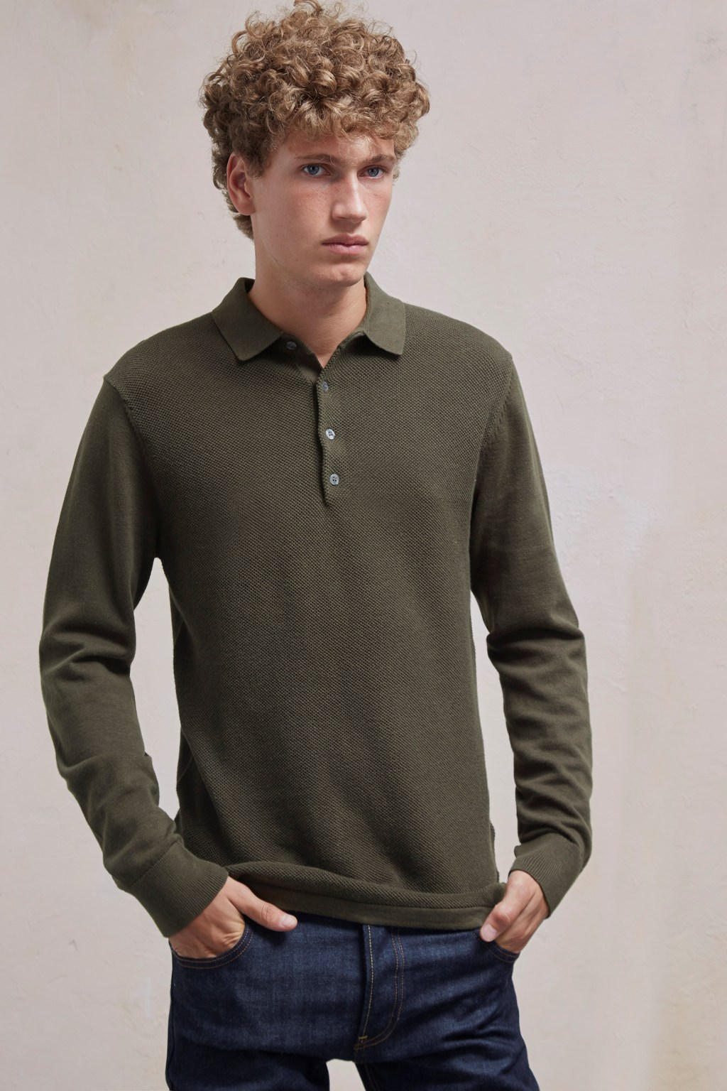 6c1d3be6f Textured Knit Long Sleeved Polo Shirt. loading images... loading images.