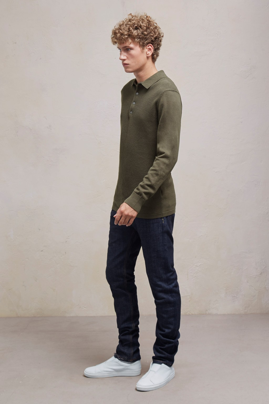 Textured Knit Long Sleeved Polo Shirt Mens Sale French
