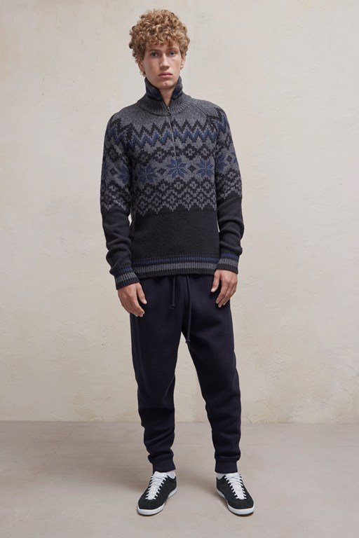 ski fair isle half zip jumper