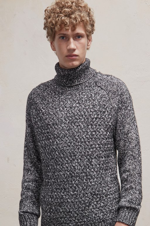 twisted cable knit roll neck jumper