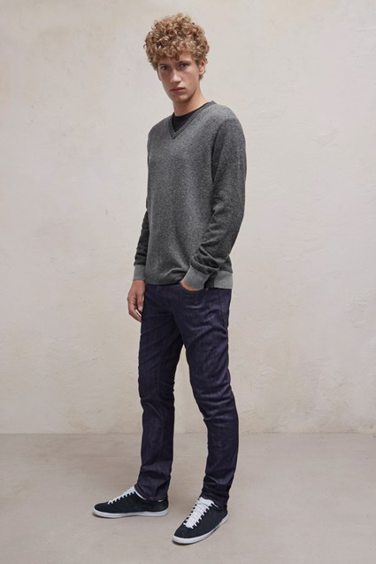 Patchwork Lambswool V Neck Jumper