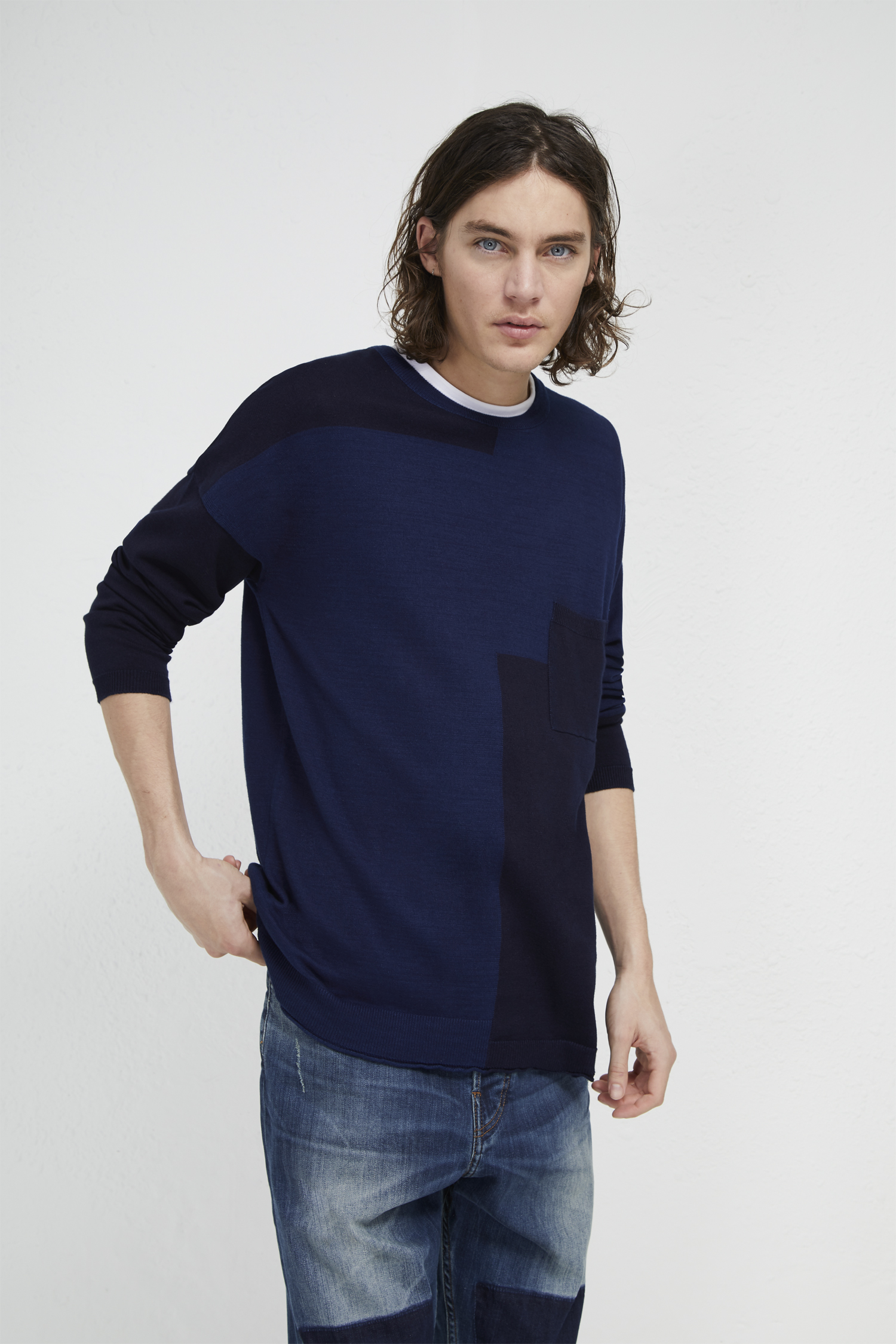 French Connection Mens Navy Blue Knitted Polo Shirt