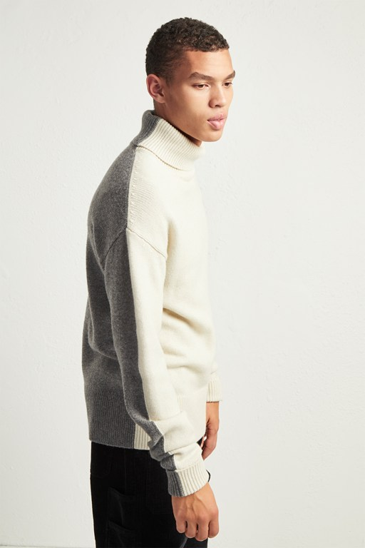 fishermans wool block roll neck jumper