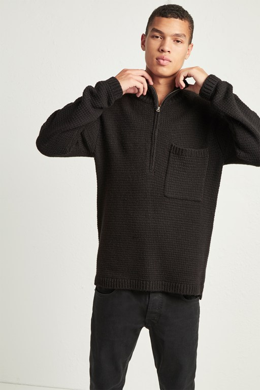loose alpaca wool half-zip jumper