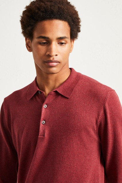 Stretch Cotton Long Sleeved Polo Shirt