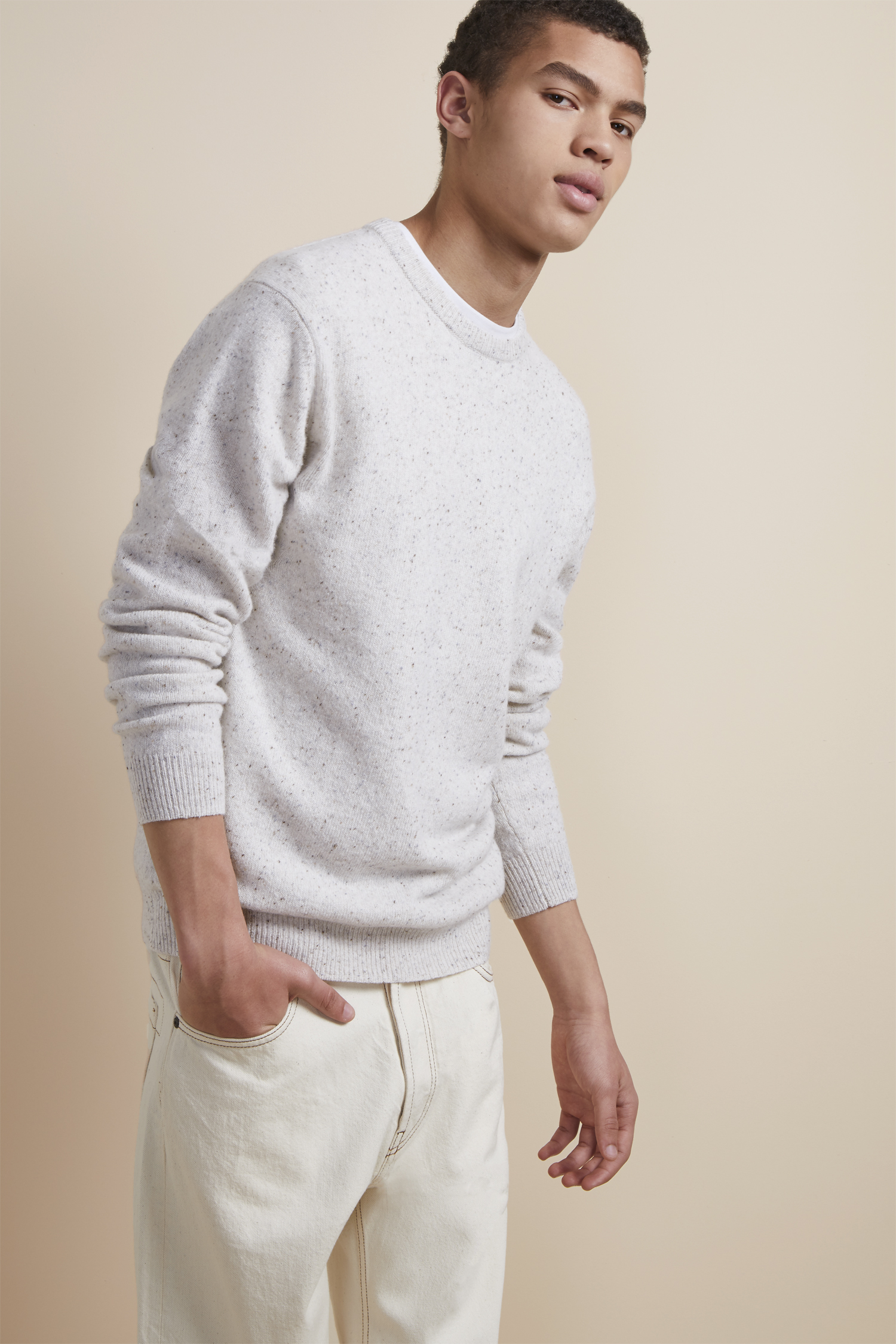 French Connection Mens Oversized Donegal Crewneck Sweater