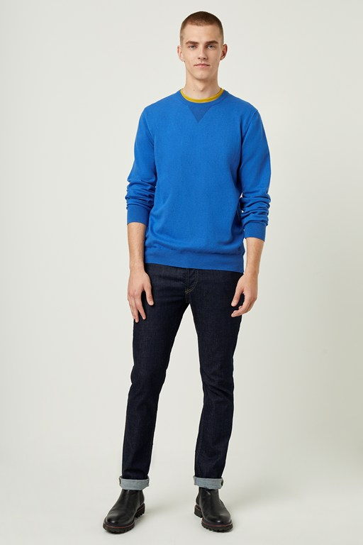 stretch cotton crew neck sweater