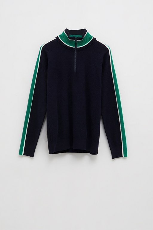 milano stripe half zip jumper