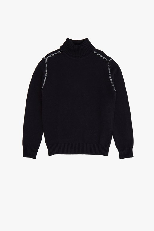 stitch detail roll neck jumper