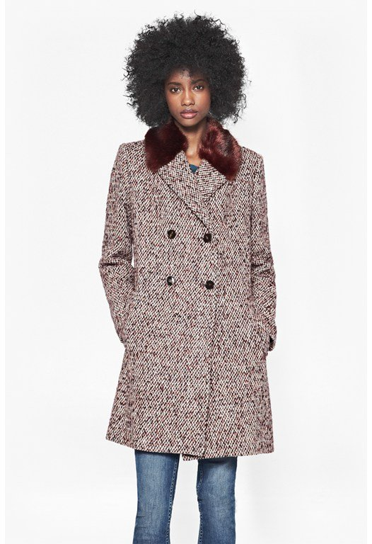 Moscow Tweed Faux Fur Collared Coat