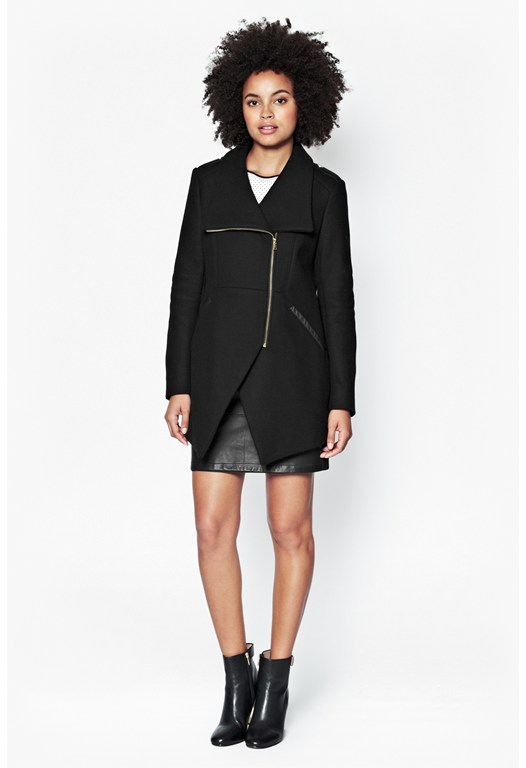 Cut Away Wool Coat