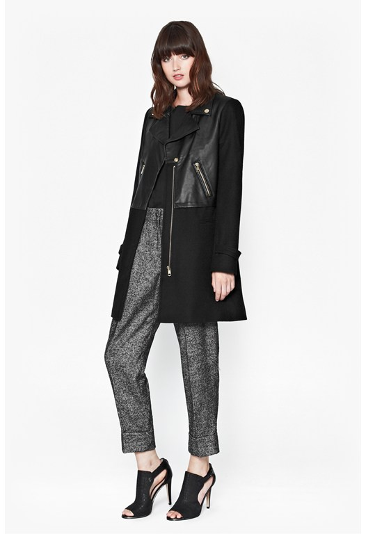 Moto Leather Wool Coat buy online - Easy way to find offers United