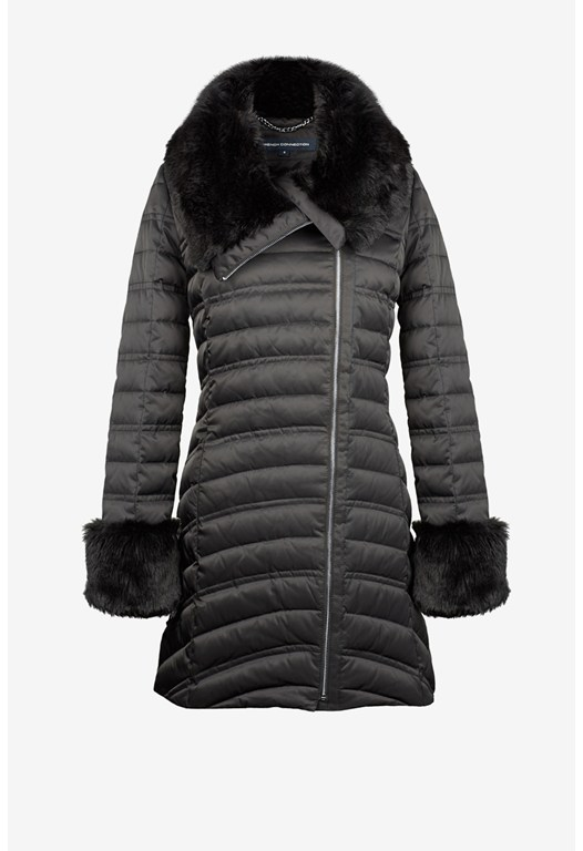 Faux Fur Collar Puffer Coat