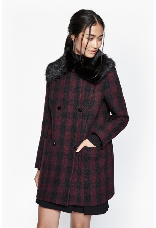 Highland Wool Fur Collared Coat