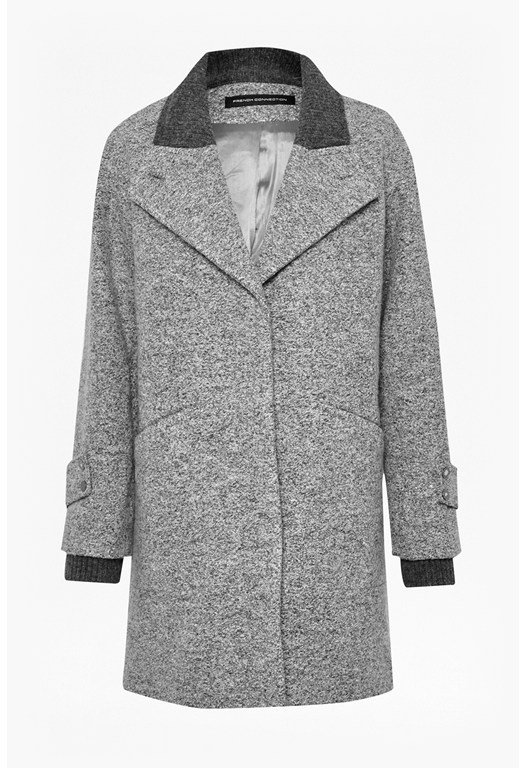 Rib Knit Collar Boyfriend Coat