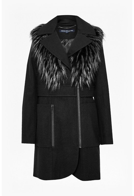 Asymmetric Wool Faux Fur Coat