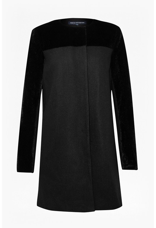 Seal Combo Collarless Coat