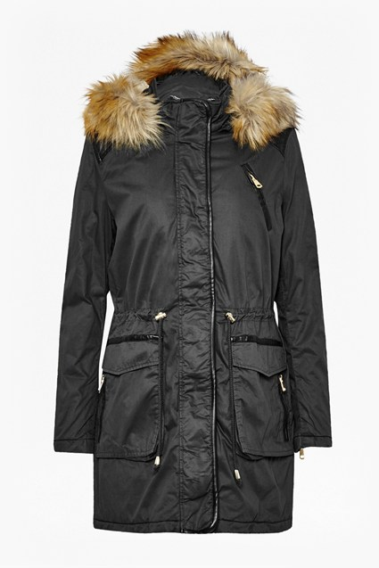 Faux Leather Waxy Cotton Parka