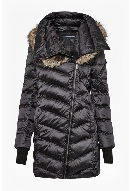 Moto Asymmetric Fur Hood Coat
