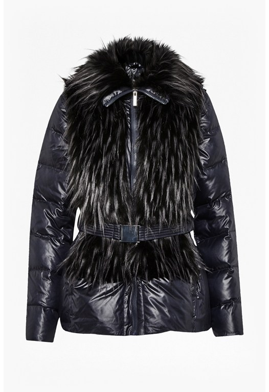 Zip Out Sleeve Faux Shearling Coat