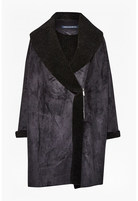 Cocoon Shape Faux Shearling Coat