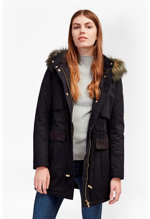 Colored Faux Fur Parka