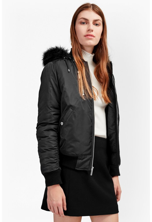 Varsity Bomber With Faux Fur Hood Jacket