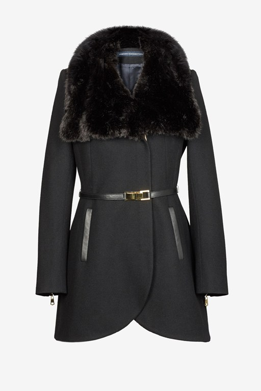 Leather Belted Fur Collar Tulip Coat