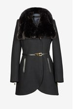 Looks Great With Leather Belted Fur Collar Tulip Coat